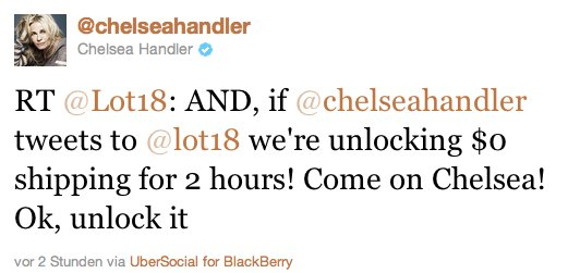Chelsea Handler Retweet - Lot18 - Social Branding KMU