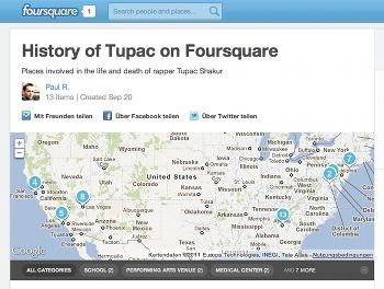History of Tupac on Foursquare